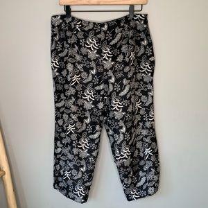 Allison Taylor 100% silk cropped patterned pants